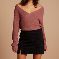 final sale - Cotton Candy LA - crossfire sweater - mauve