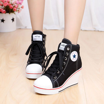 Fashion Shoes Woman platform Wedges Zippers Creepers High Heels