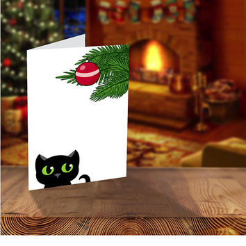 Black Cat Christmas Cards, Printable Cat Card, Printable Christmas Cards, Hand Drawn Black Cat, Family Christmas Card, Illustrated Christmas