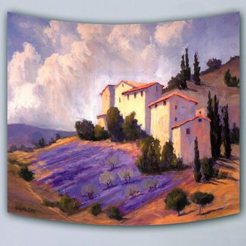 High quality scenic oil painting village printed Euro style home decorative wall tapestry hanging beach towel 3sizes sofa cover