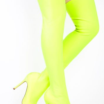 Neon Yellow Stretch Stocking Pointy Toe OTK Thigh Boot High Heels