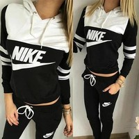 "Women Fashion ""NIKE"" Print Hoodie Top Sweater Pants Sweatpants Set Two-Piece Sportswear"