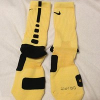 Custom Nike Elite Basketball Socks Yellow wiith Black Stripes Small Size 3Y-5Y