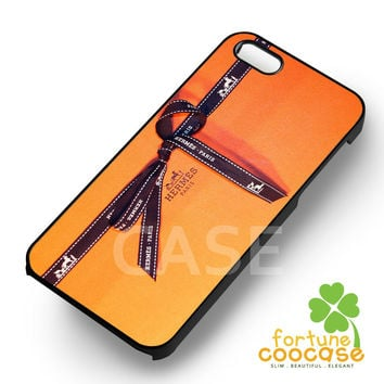 orange box ribbon hermes -1nnya for  iPhone 6S case, iPhone 5s case, iPhone 6 case, iPhone 4S, Samsung S6 Edge