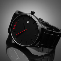 Black Plated Stainless Steel Watch with Black SS Band