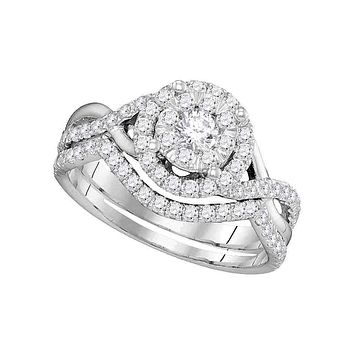 14k White Gold Women's Round Diamond Bridal Wedding Engagement Ring Band Set 7/8 Cttw - FREE Shipping (US/CAN)