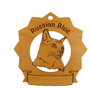 7339 Russian Blue Cat Personalized Wood Ornament