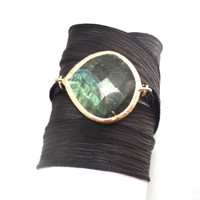 Silk Wrap Bracelet with Labradorite Connector by charmeddesign1012