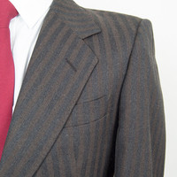 Vintage Frame 70's Brown Pinstripe mens Jacket wool Blazer Made in England 38 Medium
