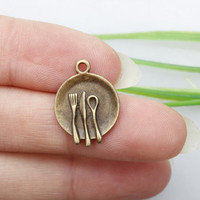 Own Charm ~dish charms -plate charms miniature plate charms spoon charm - fork charm - knife charm - bronze plate charm - miniature dish
