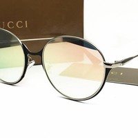 Gucci Classic Vintage Round Mirror Brand Designer Sunglasses Metal Lady Circle Retro UV400 Women Or Men  Sun Glasses Rays Victory [2974244569]
