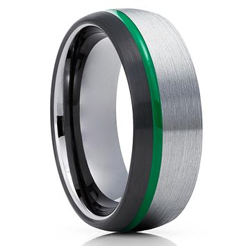 Green Tungsten Ring - Green Wedding Band - Black Tungsten Ring -  Anniversary Ring - 8mm