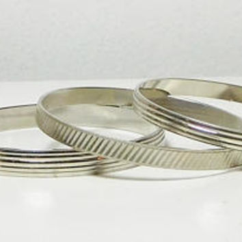 Silver Bangles, Silver Bracelets, Silver Cuffs, Silver Tone, Vintage Gypsy Costume Jewelry, Set of 3