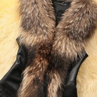Brown Sleeveless No Button Faux Fur Fashion Coat