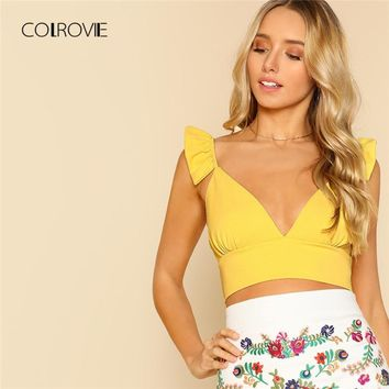 COLROVIE Plunging Ruffle Strap Crop Top New Summer Yellow Women Tank Top V Neck Sleeveless Tops & Tees Streetwear Cami