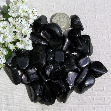 10 Black Hypersthene Crystal Tumblestones