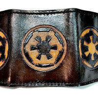 Handmade Leather Galactic Empire Trifold Wallet from the galaxy of Star Wars is Nerdie Goodness at its finest!