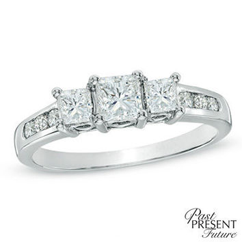 1 CT. T.W. Princess-Cut Diamond Past Present Future® Engagement Ring in 14K White Gold - View All Rings - Zales