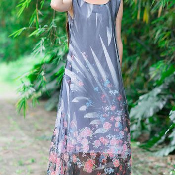 Streetstyle  Casual Round Neck Floral Hollow Out Printed Chiffon Maxi Dress