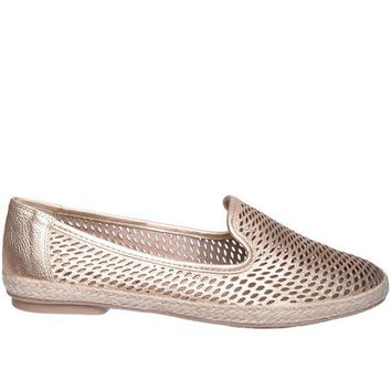 Chelsea Crew Blast  Gold Leather Espadrille Flat
