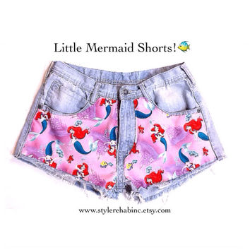 Little Mermaid Jean shorts. Fabric Panels in shorts. Pink or blue. Studs or none. USA Disney.