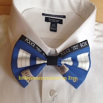 Dr Who. Police Box. Tardis  Inspired Hair Bow  --- OR --- Bow Tie