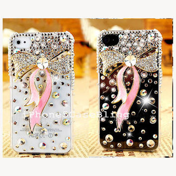 iPhone 4 Case, iPhone 4s Case, iPhone 5 Case, Cute iPhone 4 Case, Bling iPhone 4 case, iphone 5 bling case, bow iphone 4 case, pink ribbon