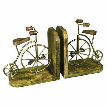 Antique Wood And Metal Bicycle Bookends, Set Of 2, Gold By Benzara