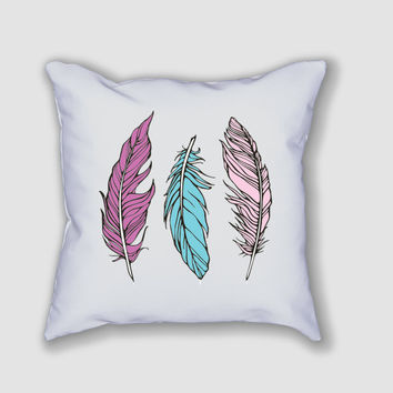 Feathers - Throw Pillow Case (printed on both sides)
