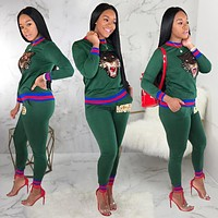 GUCCI Trending Women Casual Tiger Head Pattern Long Sleeve Trousers Set Two-Piece Sportswear Green