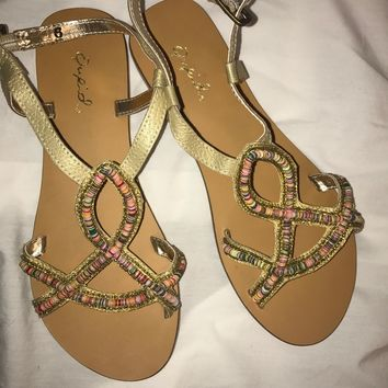 Qupid bohemian gold sandals