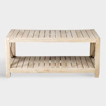 Slatted Natural Wood Farmhouse Noam Coffee Table