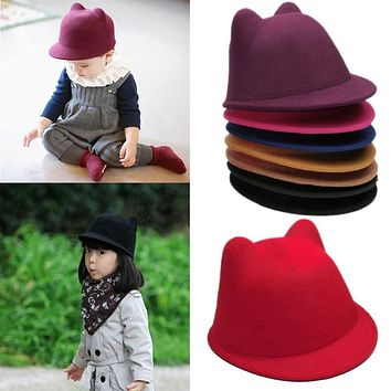 New Lovely Kids Boys Girls Cute Cat Ear Fedora Solid Bowler Cap Wool Felt Hat