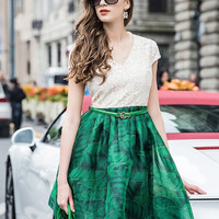 Green Lotus Leaves Lace V-neck Crochet Dress