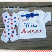 Future Miss America Onesuit or Shirt Set - Glitter - 4th of July - First Fourth of July - Sister Outfit - Pageant - Miss America Outfit -July