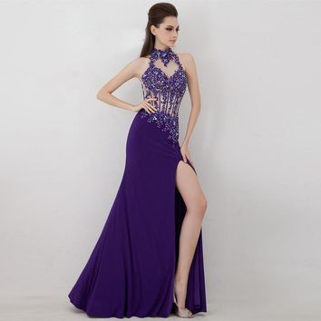 Sexy Mermaid Prom Dress Sleeveless Halter Neck Split Tip Applique Beading Evening Dress Keyhole Back NM 798