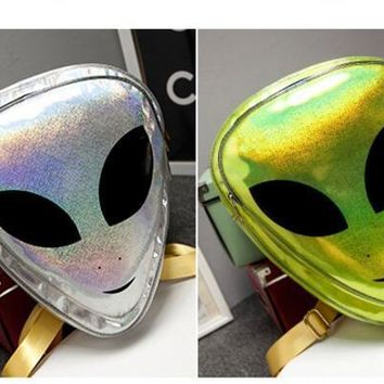 Laser 3D Aliens Backpack Reflection Harajuku Style School Bag for Teenagers Transparent Backpack
