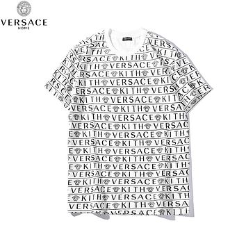 Versace New fashion more letter human head print couple top t-shirt White