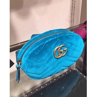 Gucci Stylish Ladies Personality Velvet Purse Waist Bag Single-Shoulder Bag Pockets Bag Blue