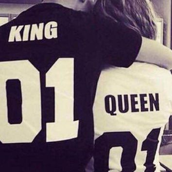 PEAPUNT summer tops 2016 king queen couple clothes couple clothes  anime 2017 couple shirt funny t shirts women kings queens
