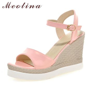 Meotina Summer Women Shoes Platform Sandals Wedge Heels Patent Leather Sandals Shoes Bohemia Ladies Sandals Pink Size 34-39