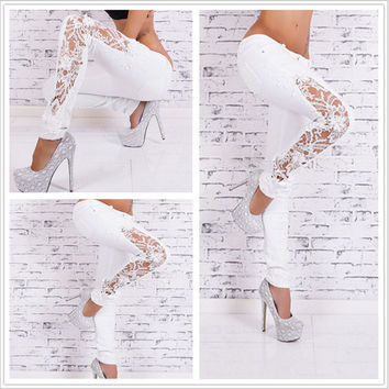 White Lace Pattern Jeans