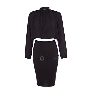 Stand Collar Long Sleeve Backless Crop Blouse + Elastic Waist Pure Color Skinny Skirt Two Piece Dress for Ladies
