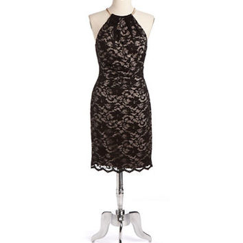 Eliza J Halter Lace Sheath Dress