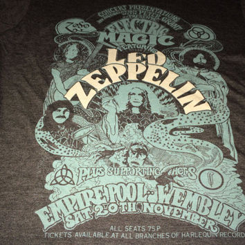Sale!! Vintage LED ZEPPELIN Tour Winter United Kingdom 1971 T Shirt Band Concert Tee Electric Magic