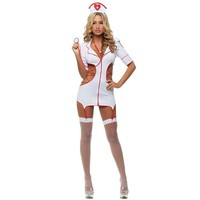 Women's White Sexy Nurse Uniform Costume Cosplay For Girl Halloween Game Stage Bar Costume Cosplay