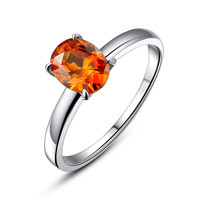 Stainless Steel Oval Red-Orange Cubic Zirconia Solitaire Ring