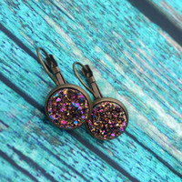 Dangle Rose Gold Multi-Color Druzy Earrings, Druzy Earrings, Rose Gold Earrings, Bridal Druzy, Bridal Earrings,  Boutique, Stud, Purple