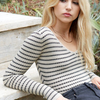 Say What Double V-Neck Lurex Sweater Top at PacSun.com