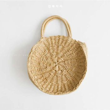 2018 Lady Fresh Handbag Summer Beach Tote khaki Handmade Rattan woven Round Handbag Vintage Retro Straw Knitted Messenger Bag